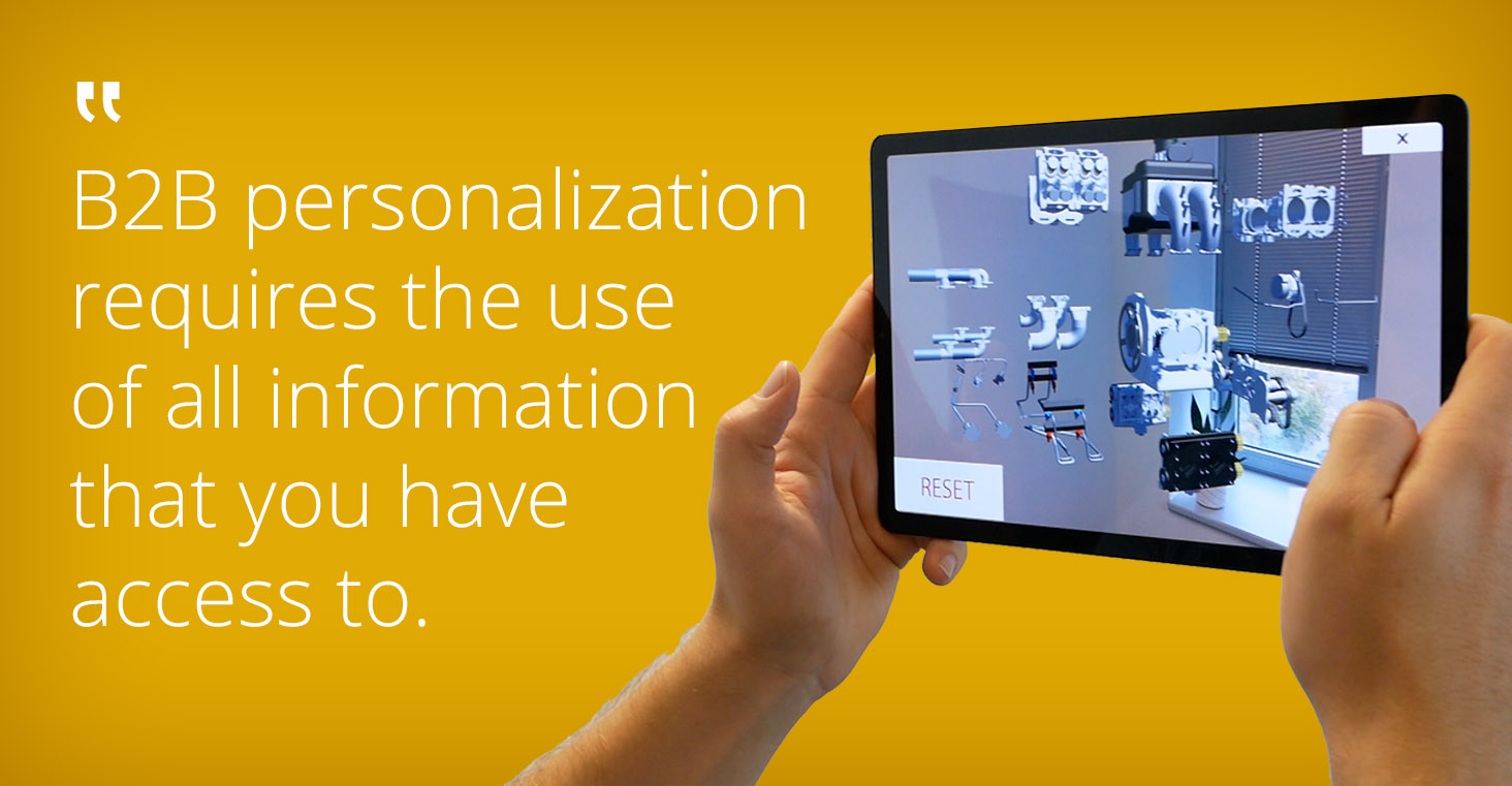 Personalization in B2B webshops spare parts